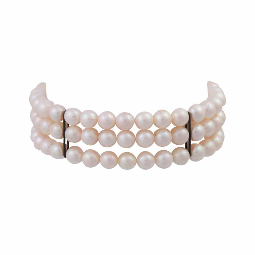 Bracelet 3 rows of cultured pearls, about 6 mm, - photo 1