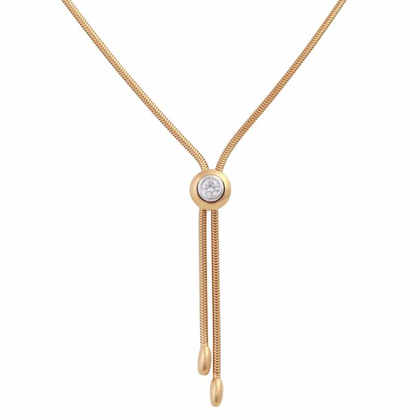 Y-necklace with solitaire sliding element, brilliant cut, approx 0.25 ct, - photo 2