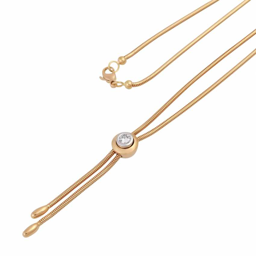 Y-necklace with solitaire sliding element, brilliant cut, approx 0.25 ct, - photo 4