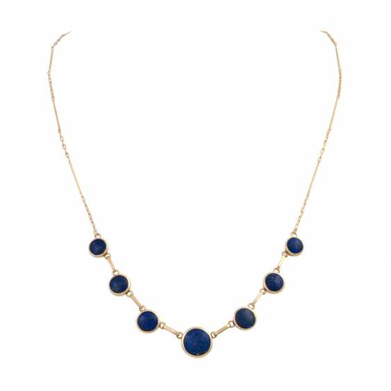 Necklace with 7 round lapis lazuli elements, about 6-10 mm, - photo 1