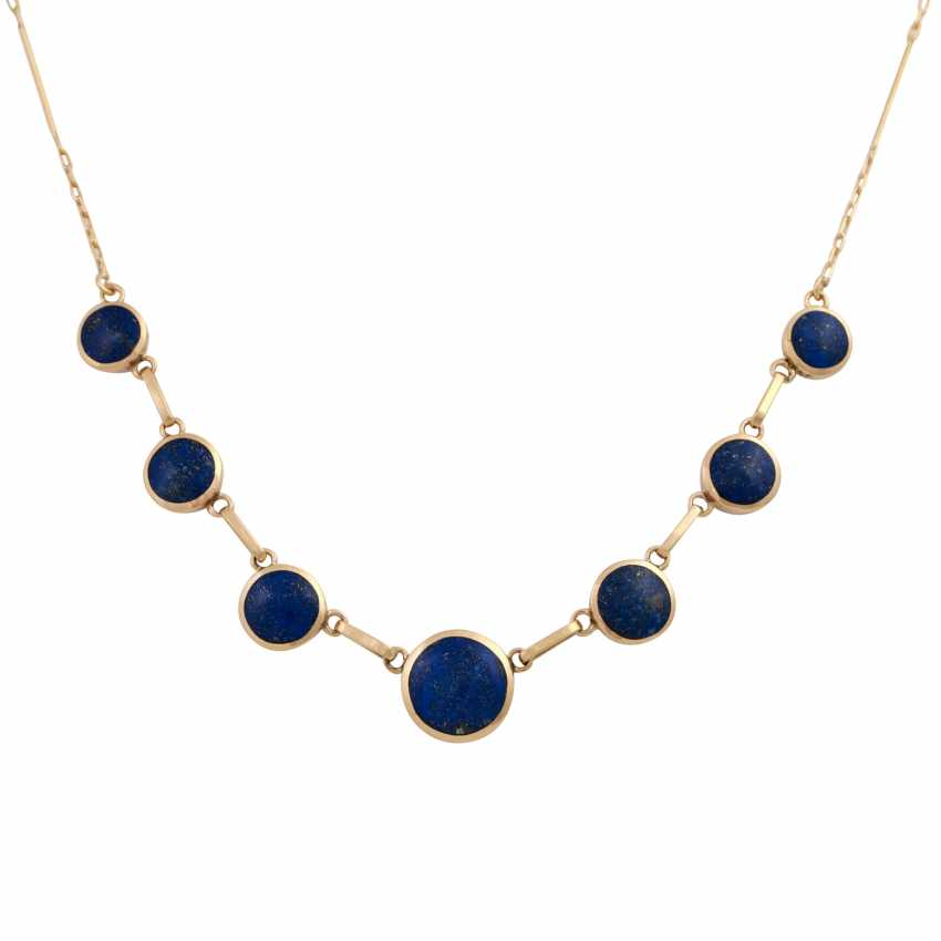 Necklace with 7 round lapis lazuli elements, about 6-10 mm, - photo 2
