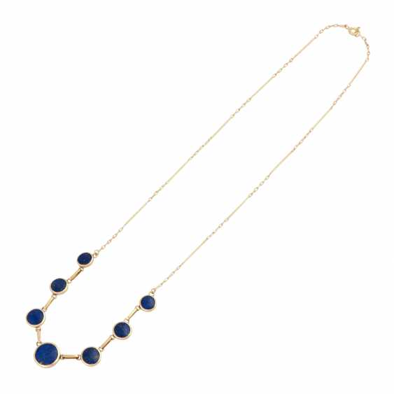 Necklace with 7 round lapis lazuli elements, about 6-10 mm, - photo 3