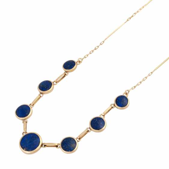 Necklace with 7 round lapis lazuli elements, about 6-10 mm, - photo 4
