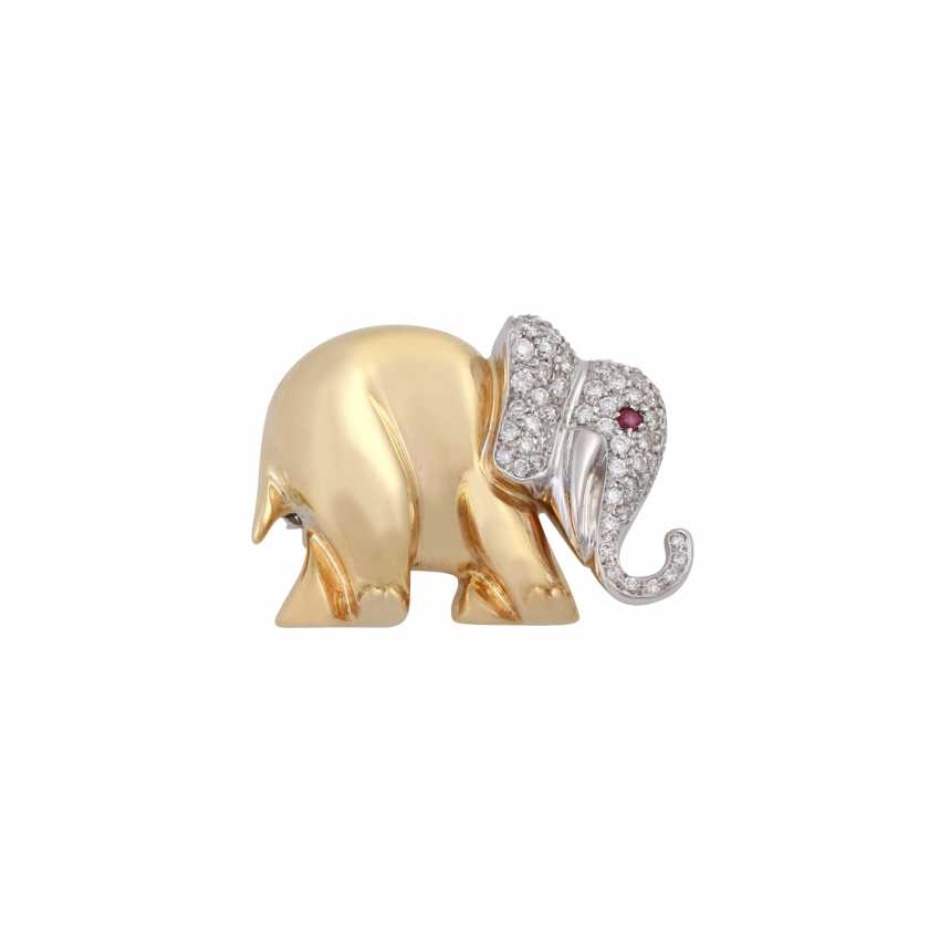 Brooch elephant with brilliant-cut diamonds, together approx 0,63 ct, - photo 1