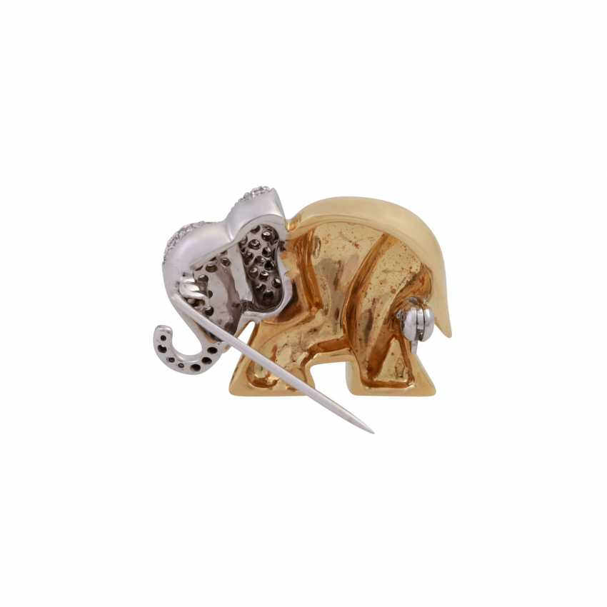 Brooch elephant with brilliant-cut diamonds, together approx 0,63 ct, - photo 3