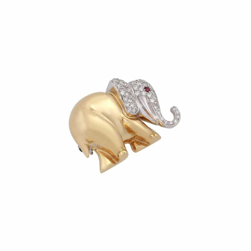 Brooch elephant with brilliant-cut diamonds, together approx 0,63 ct, - photo 4