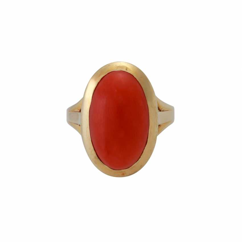 Ring with precious coral, - photo 1