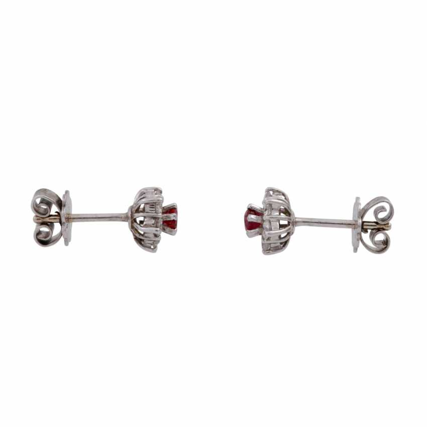 Pair of earrings with rubies and brilliant-cut diamonds, together approx 0.24 ct, - photo 1