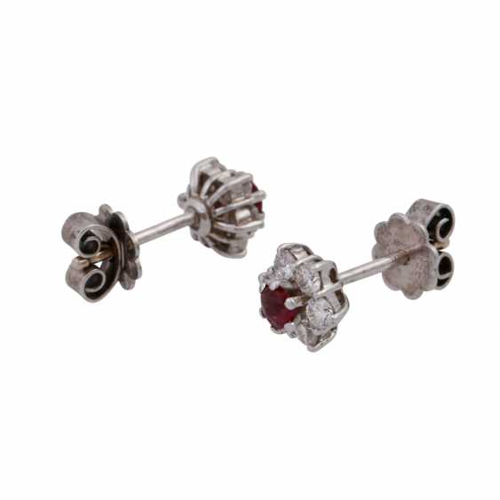 Pair of earrings with rubies and brilliant-cut diamonds, together approx 0.24 ct, - photo 2