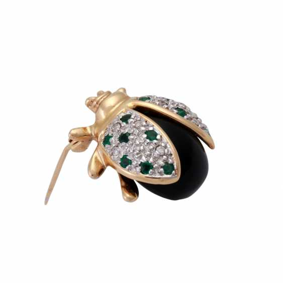 """Brooch """"beetle"""" made of Onyx and on the wings of bes. with brilliant, - photo 2"""