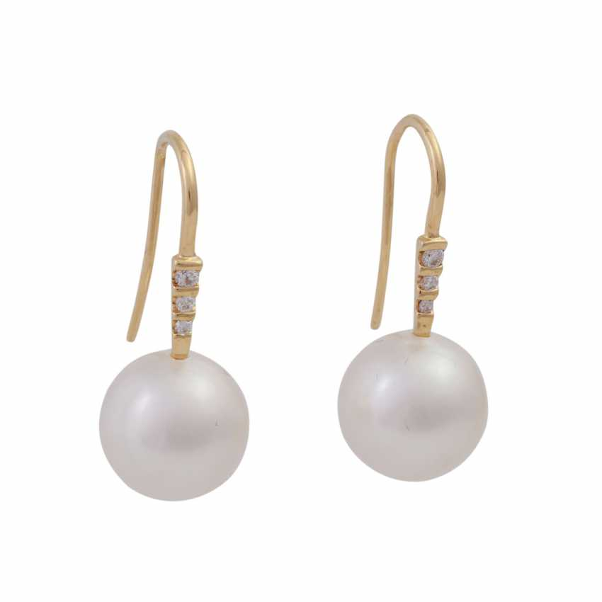 Earrings with 1 beautiful South sea cultured pearl, approx: 12mm, - photo 1