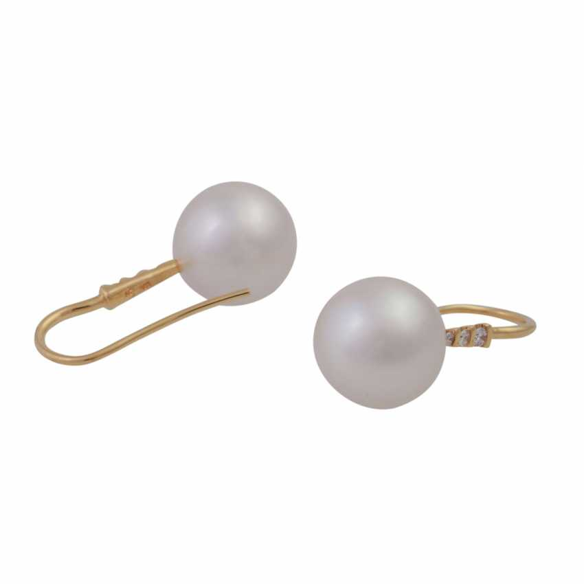 Earrings with 1 beautiful South sea cultured pearl, approx: 12mm, - photo 3