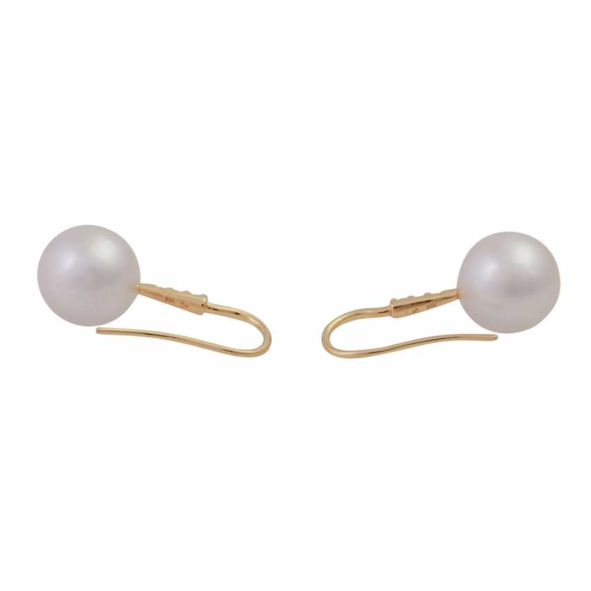 Earrings with 1 beautiful South sea cultured pearl, approx: 12mm, - photo 4