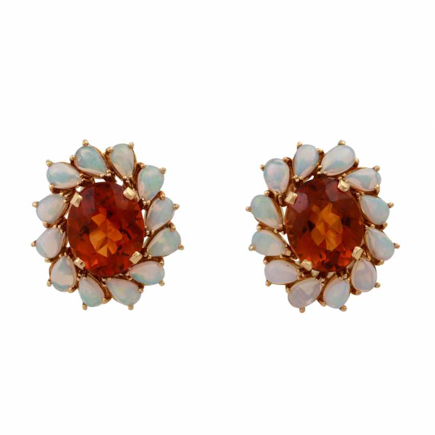 Clip earrings each with 1 oval fac. Citrine of 8 ct, - photo 1