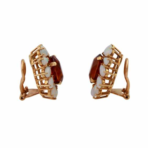 Clip earrings each with 1 oval fac. Citrine of 8 ct, - photo 2