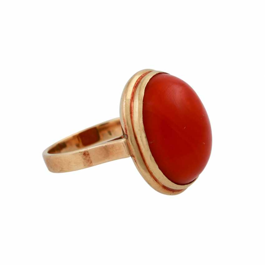 Ring with red coral, oval Cabochon, approx. 15,5x12 mm, - photo 2