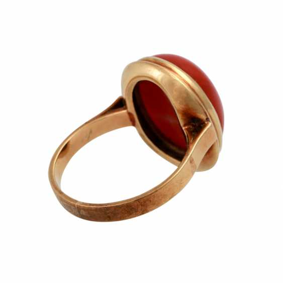 Ring with red coral, oval Cabochon, approx. 15,5x12 mm, - photo 3