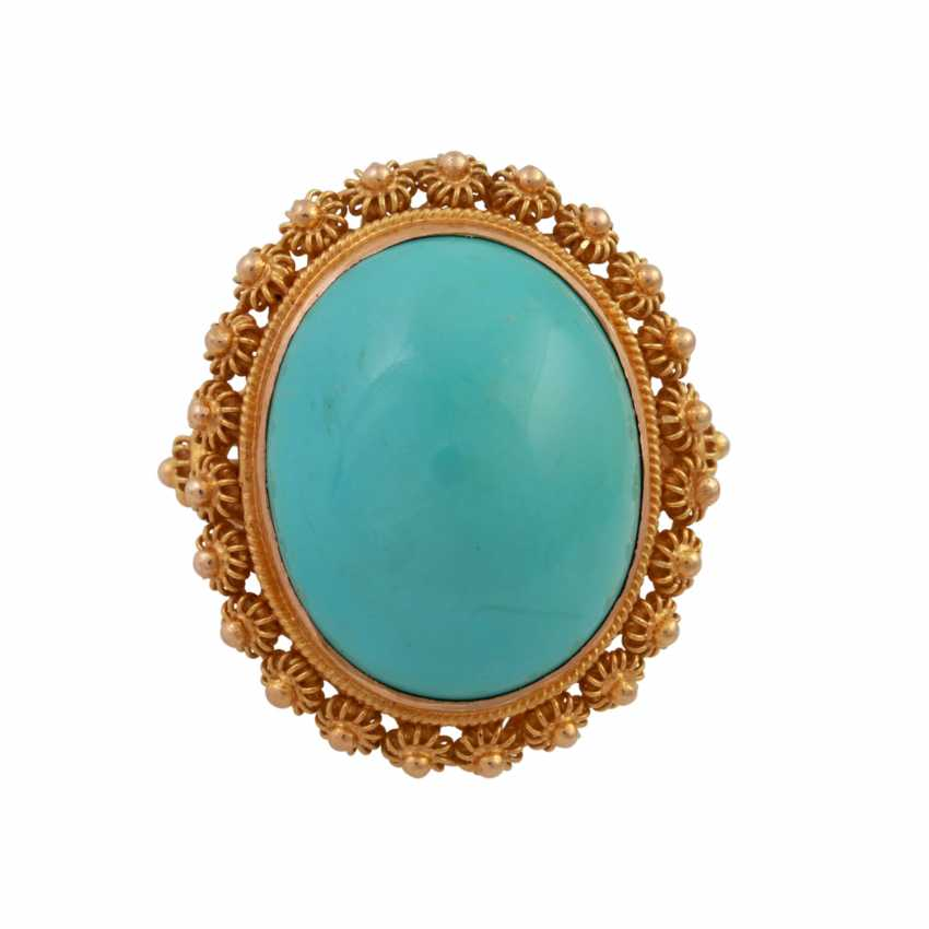 Ring with an oval turquoise Cabochon approx. 19x15 mm, - photo 1