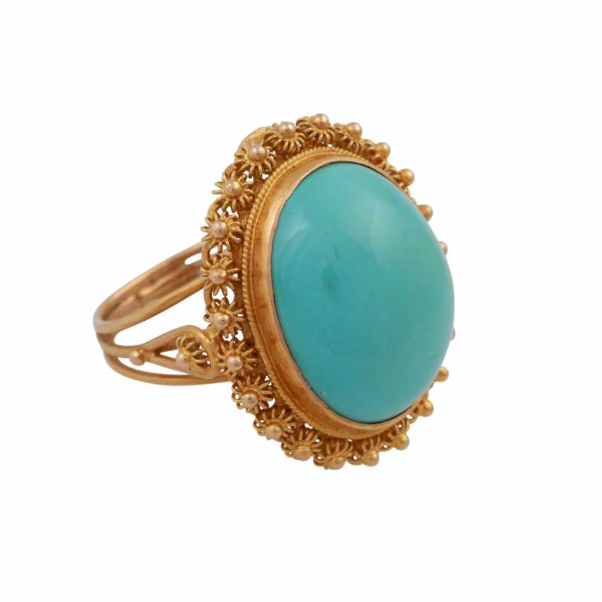 Ring with an oval turquoise Cabochon approx. 19x15 mm, - photo 2