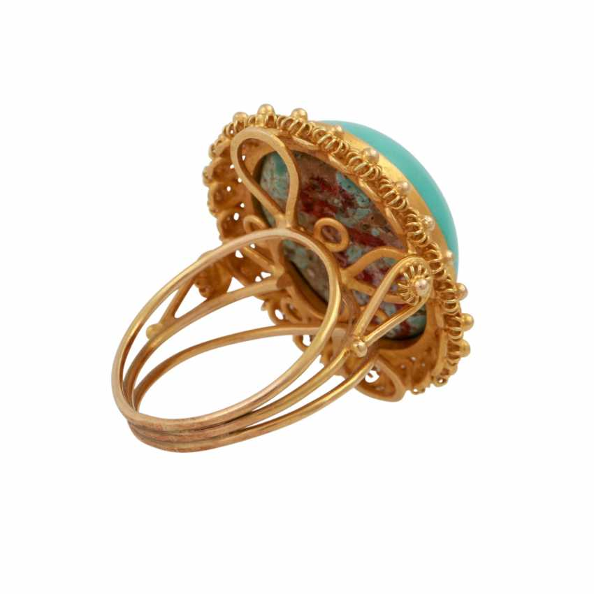 Ring with an oval turquoise Cabochon approx. 19x15 mm, - photo 3