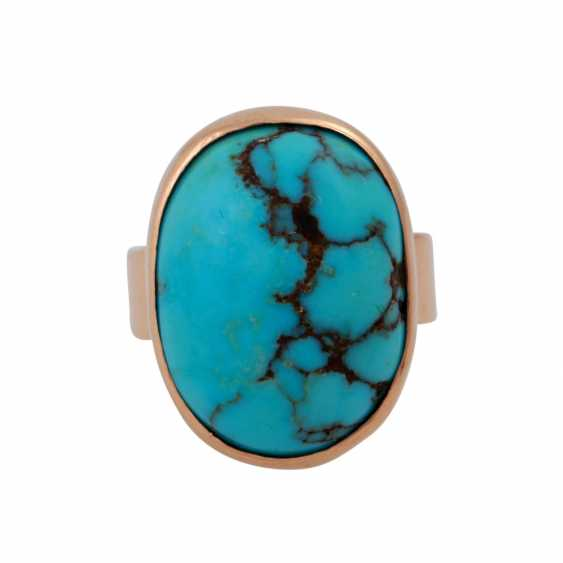 Ring with oval turquoise, criss-crossed with the Matrix, - photo 1