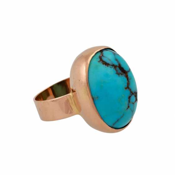 Ring with oval turquoise, criss-crossed with the Matrix, - photo 2