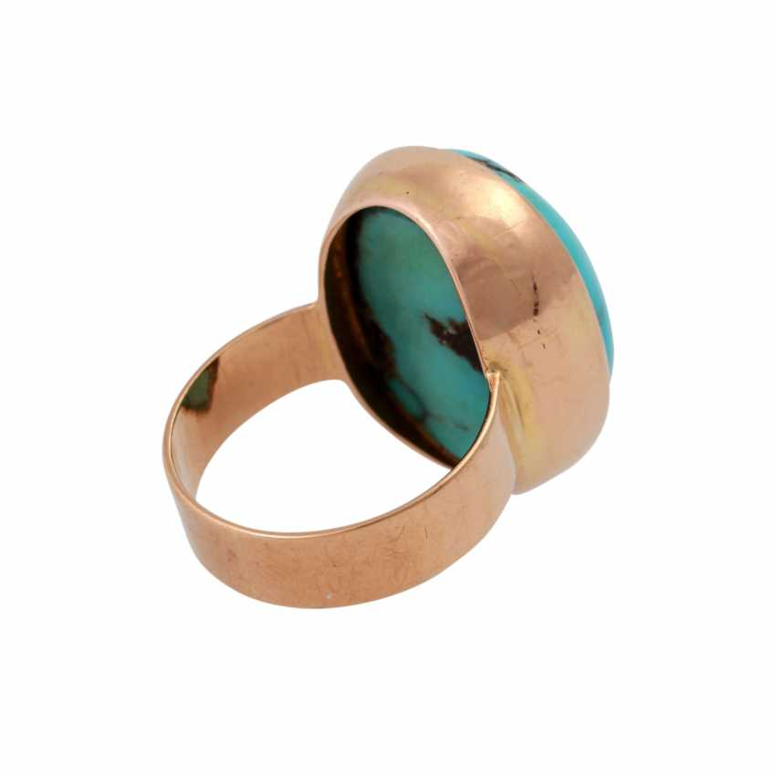 Ring with oval turquoise, criss-crossed with the Matrix, - photo 3