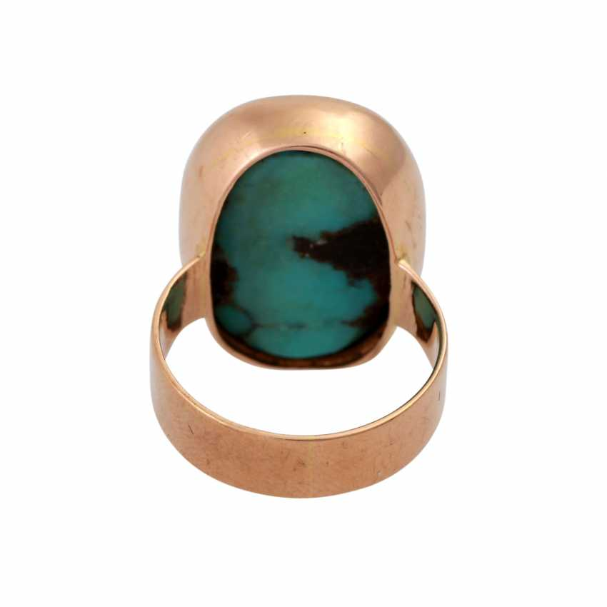Ring with oval turquoise, criss-crossed with the Matrix, - photo 4