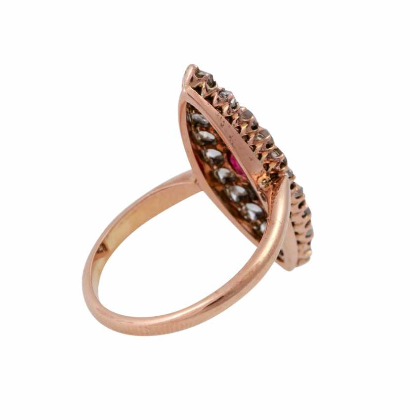 Boat ring set with rose cut diamonds, together approx 0.6 ct, - photo 3