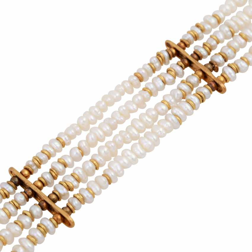 Bracelet of 4 rows of freshwater cultured pearls - photo 4