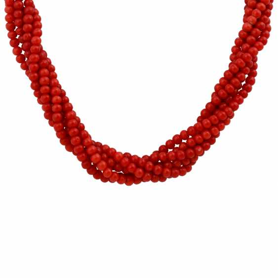 Long necklace, 6 rows of red Coral beads, approximately 4 mm, - photo 2