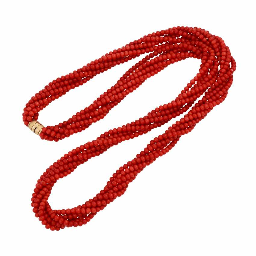Long necklace, 6 rows of red Coral beads, approximately 4 mm, - photo 3