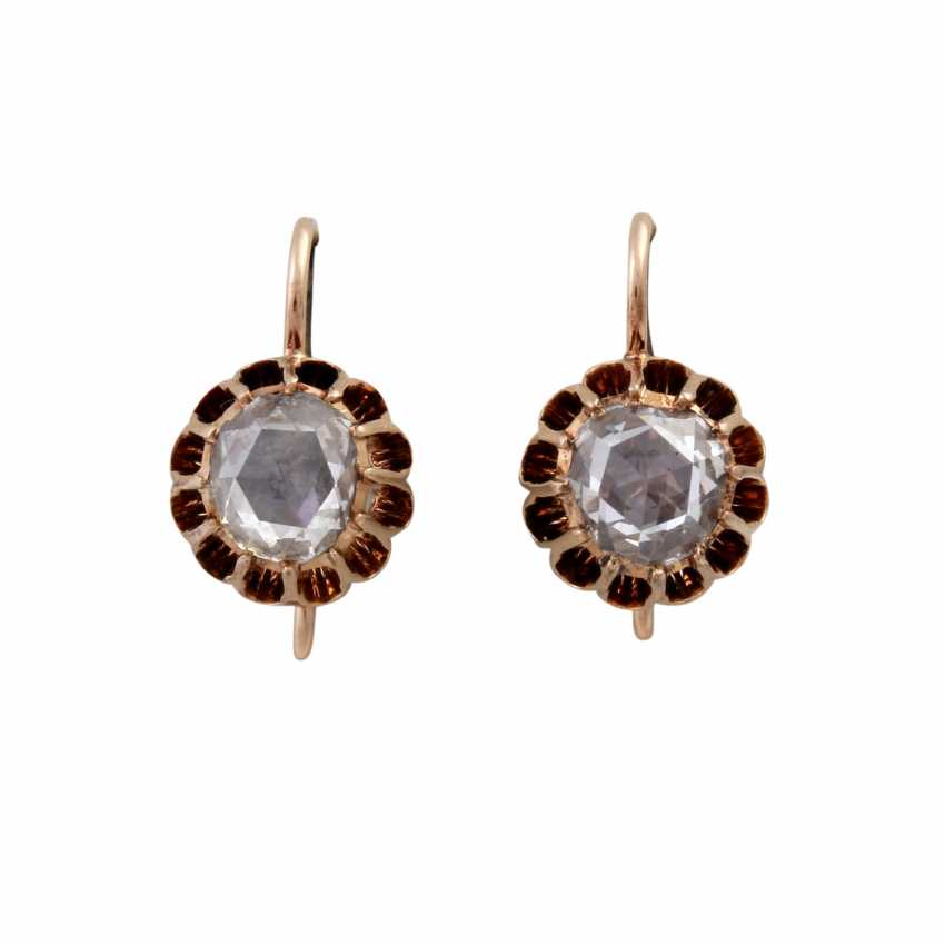 Pair of drop earrings with rose cut diamonds together approximately 0.9 ct, - photo 1