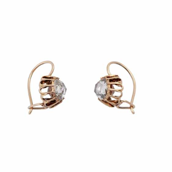 Pair of drop earrings with rose cut diamonds together approximately 0.9 ct, - photo 2