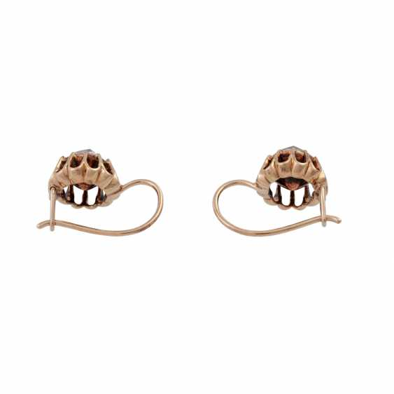 Pair of drop earrings with rose cut diamonds together approximately 0.9 ct, - photo 4
