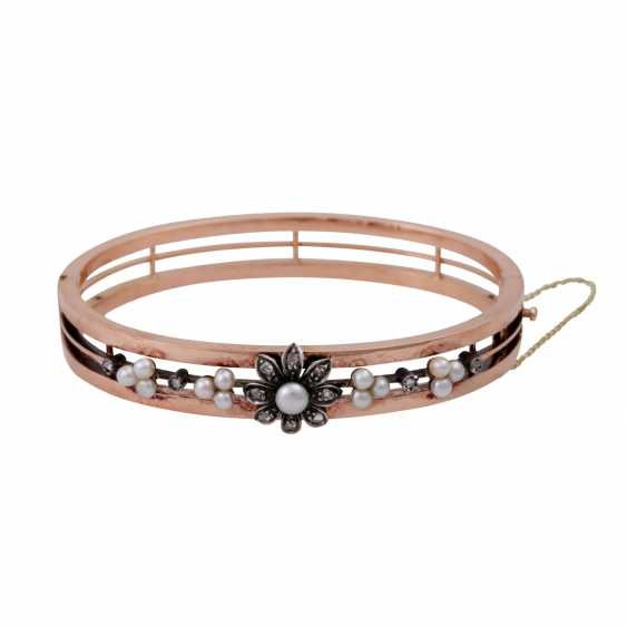 Bracelet with cultured pearls and diamond roses, - photo 1