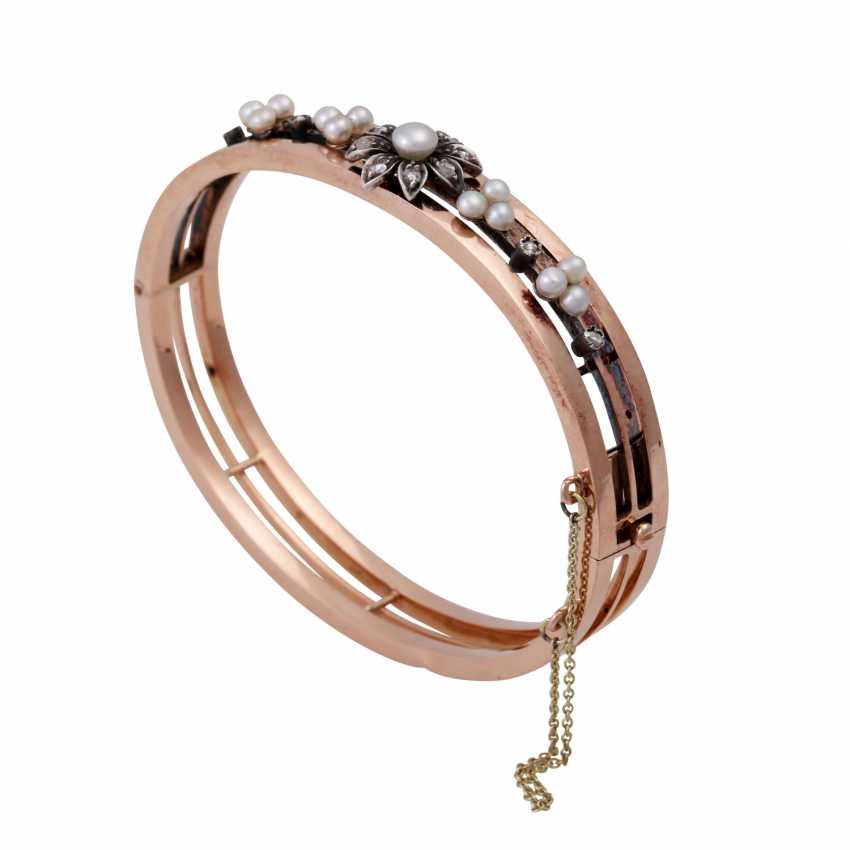 Bracelet with cultured pearls and diamond roses, - photo 4