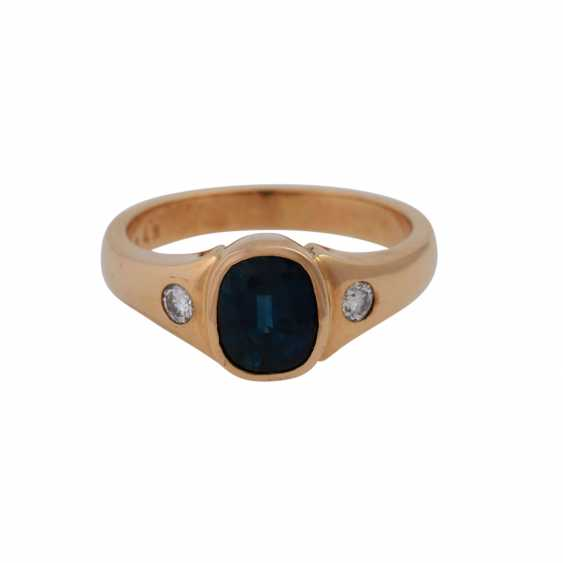 Ring with brilliant and sapphire - photo 1