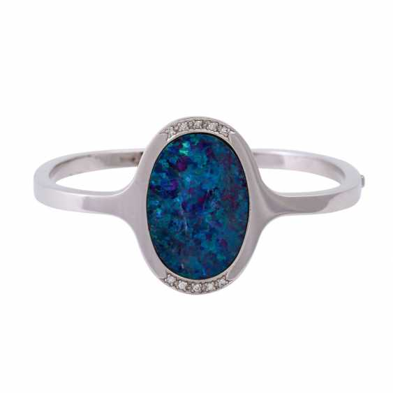 Bangle with oval opal doublette, approx 26x18 mm - photo 1