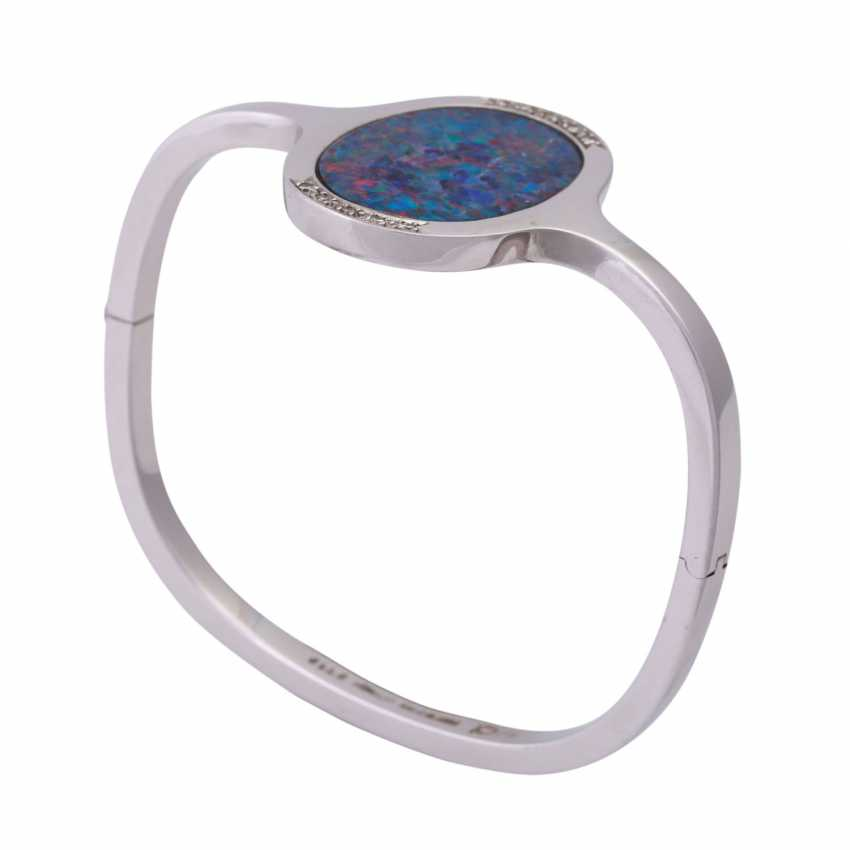 Bangle with oval opal doublette, approx 26x18 mm - photo 4