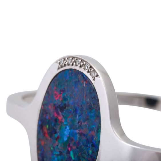 Bangle with oval opal doublette, approx 26x18 mm - photo 5