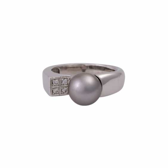 Ring with Tahiti pearl and 4 brilliant-cut diamonds - photo 1