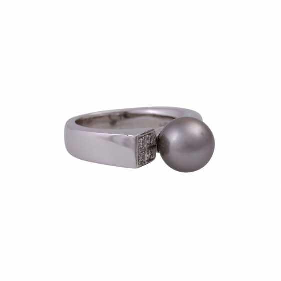 Ring with Tahiti pearl and 4 brilliant-cut diamonds - photo 2
