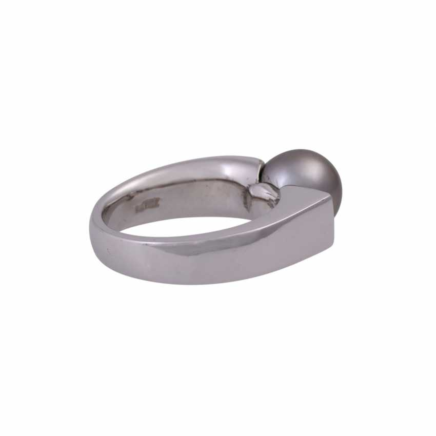Ring with Tahiti pearl and 4 brilliant-cut diamonds - photo 3