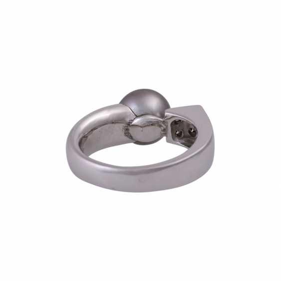 Ring with Tahiti pearl and 4 brilliant-cut diamonds - photo 4