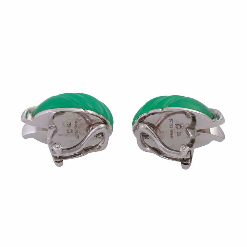 Clip-on earrings with ground-and-cut chrysoprase - photo 4