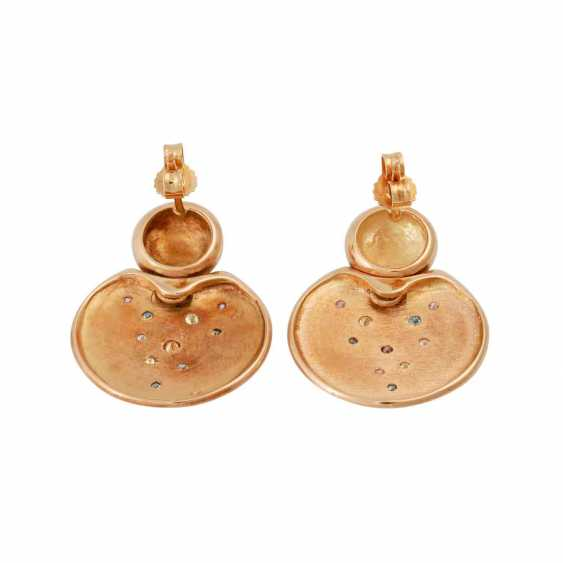 Earrings with diamonds in different colours approx 0.28 ct, - photo 4