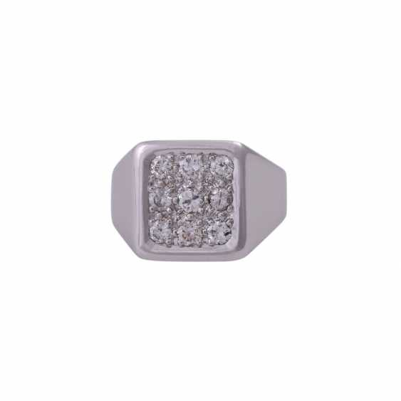 Herrenring avec 9 diamants taille Brillant, env. 0,8 ct, - photo 1