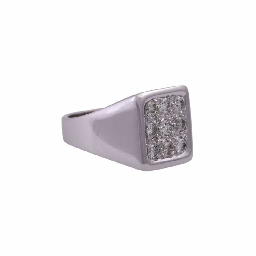 Herrenring avec 9 diamants taille Brillant, env. 0,8 ct, - photo 2