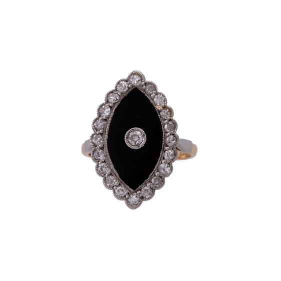 Ring with onyx plate in navette shape, and diamonds approx 0,45 ct, - photo 1